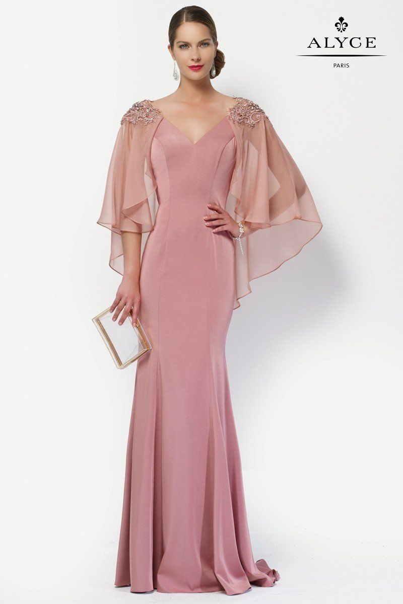 Alyce 27170 Glamorous Evening Gown with Sheer Cape | Wedding pins ...