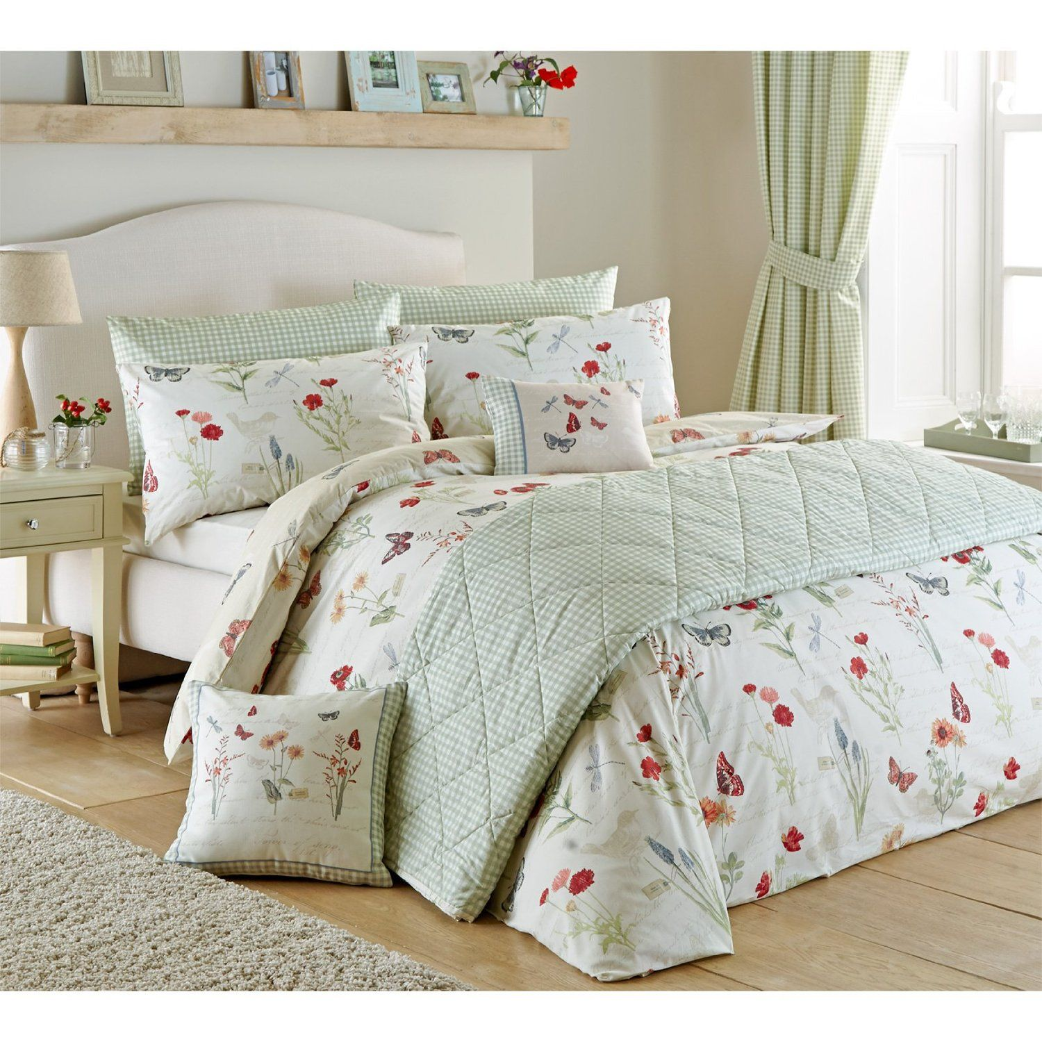 country cottage duvet cover with floral bird butterfly in neutral rh pinterest com