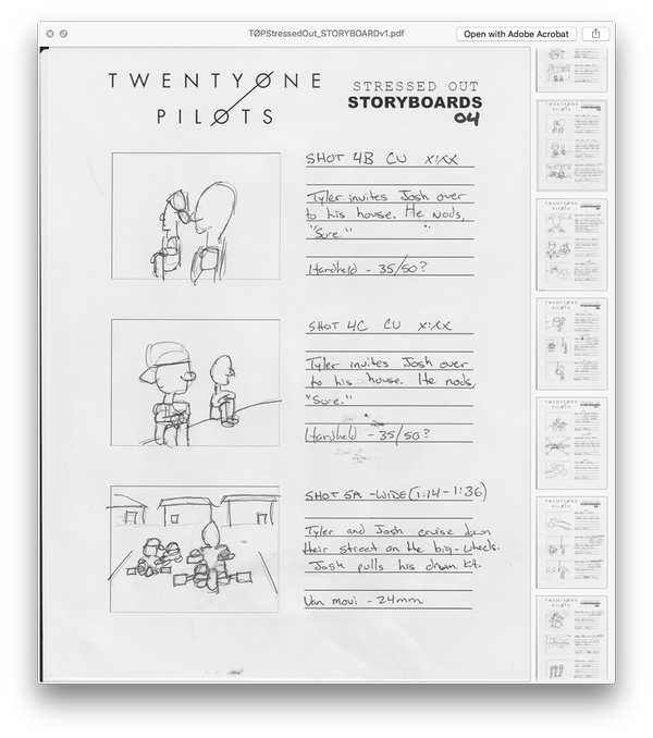 Storyboards for the Stressed Out music video from Mark