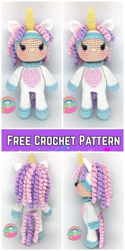 Crochet Unicorn Girl Doll Amigurumi Free Pattern #crochettoysanddolls