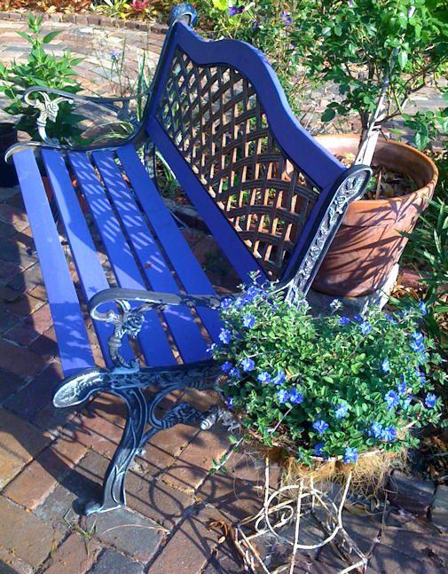 Blue Garden Bench With Slatted Bottom Seat Metal Garden