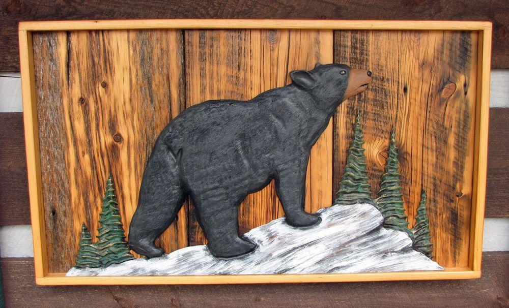 Black Bear Wood Carving Sculpture Cabin Rustic Decor
