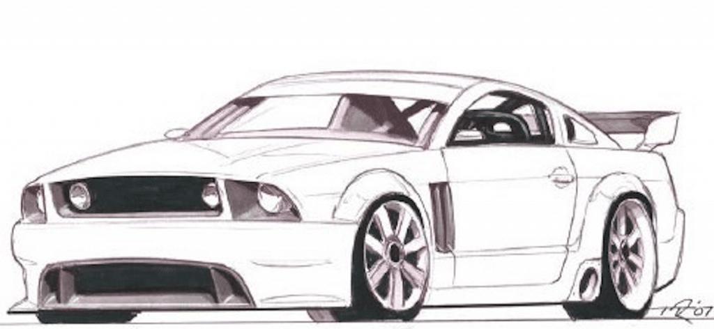 Ford Mustang Unentschieden-1   - Einfach zeichnen -