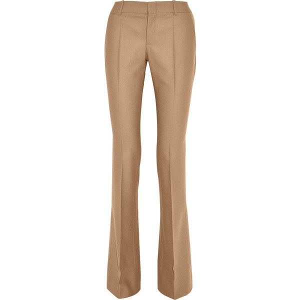 Gucci Wool and cashmere-blend flannel flared pants (3.430 NOK) ❤ liked on Polyvore featuring pants, trousers, gucci, neutrals, flannel pants, flared pants, wide-leg trousers, wide flare pants and flared leg pants
