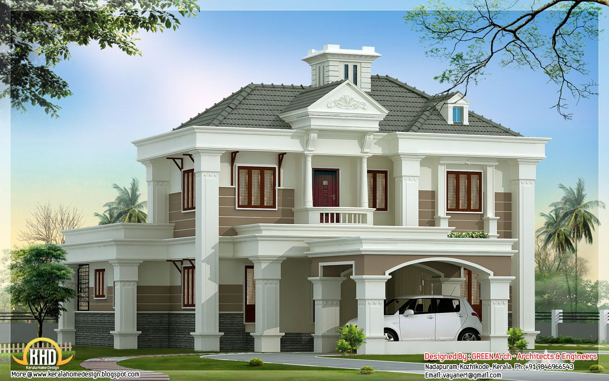 Beautiful Double Floor Home Design 2500 Sq Ft Kerala Home Design Green Architecture House