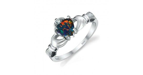 Anillo Ópalo de Fuego Arcoiris Multicolor Claddagh