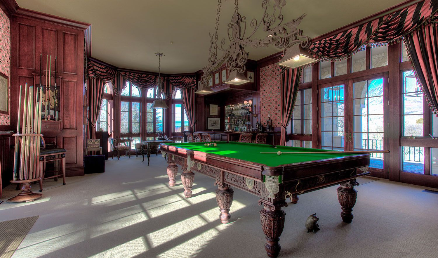 Joe Cocker Estate: Billiard Room - The Billiard Room features two sets of French doors that open to both the front and back patios, offering indoor-to-outdoor entertaining.