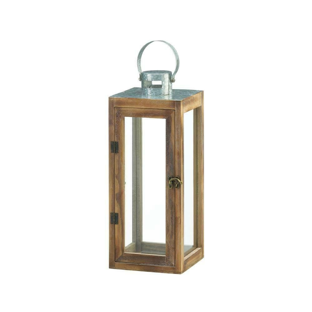 Details About Metal Top Square Wood Lantern Home Style Decor Hanging Glass Pillar Candle New With Images Wood Candle Lantern Wooden Candle Lanterns Wooden Lanterns