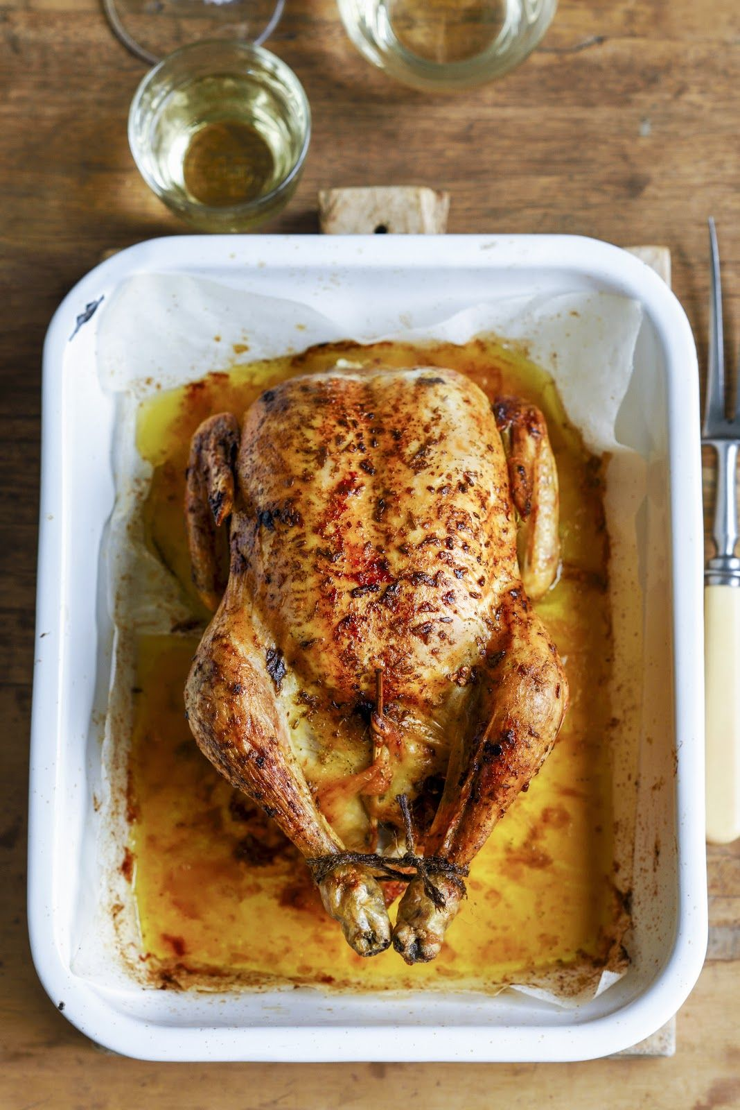 Perfect Herb Stuffed Roast Chicken With Braised Baby Leeks Peas