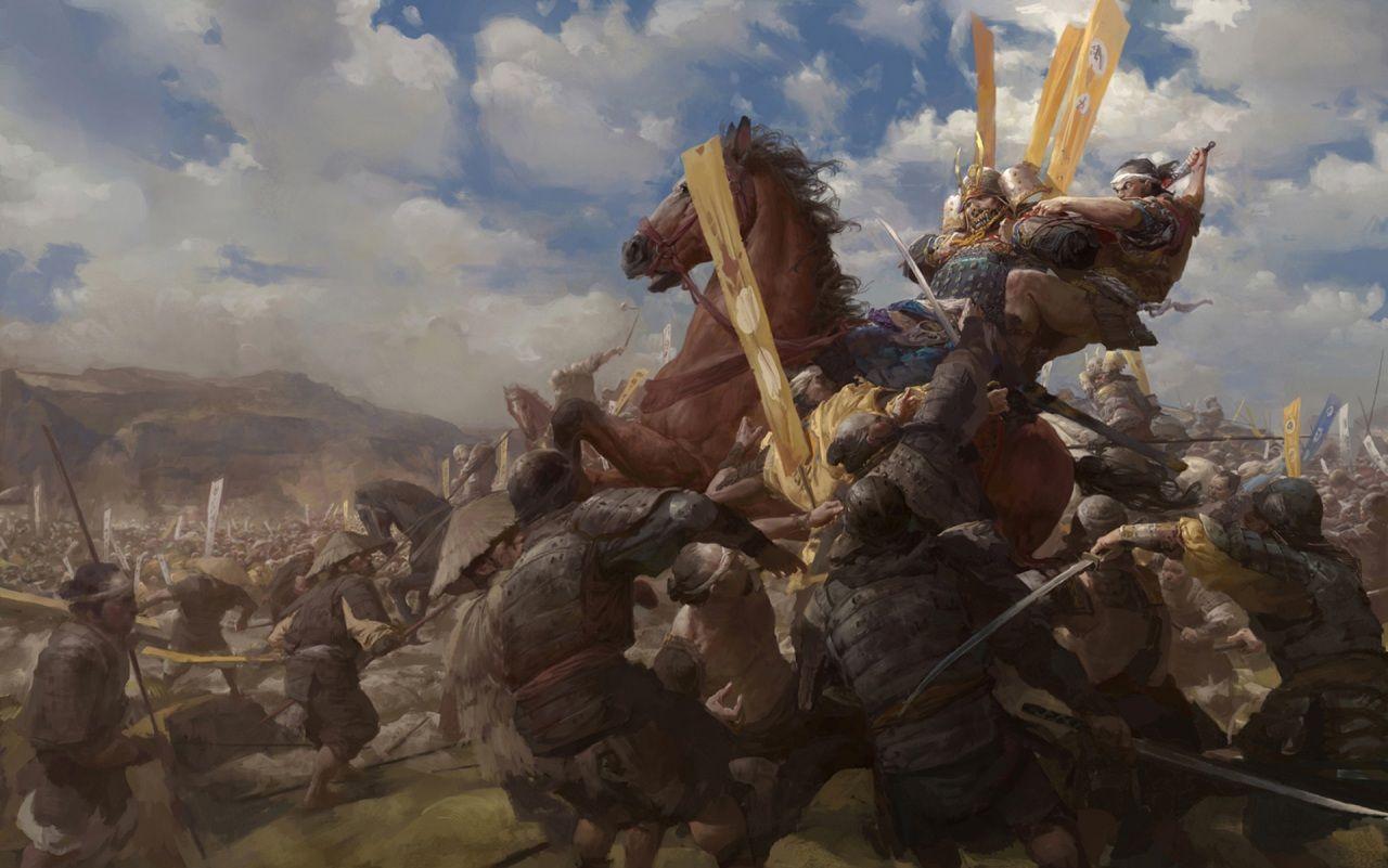 Schlacht Pferde Malerei Samurai Heer Tiere