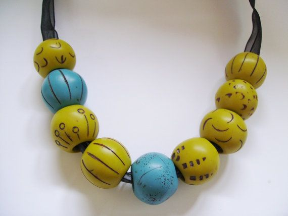SPRING ON A RIBBON Chic Necklace in Teal and Grassy Green Polymer Clay