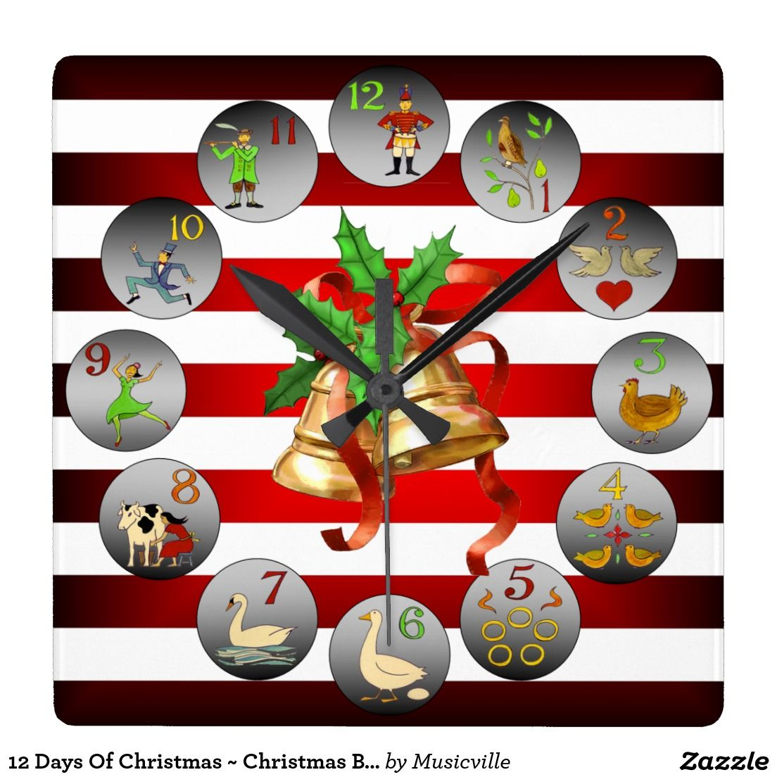 12 Days Of Christmas Christmas Bells Stripes Square Wall Clock Zazzle Com Christmas Bells 12 Days Of Christmas Square Wall Clock