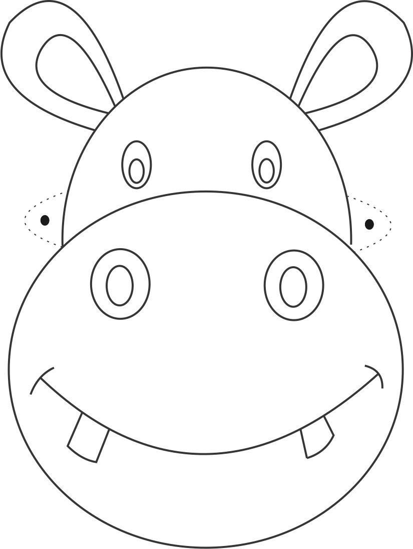 Hippo mask printable coloring page for kids izimler for Children s mask templates