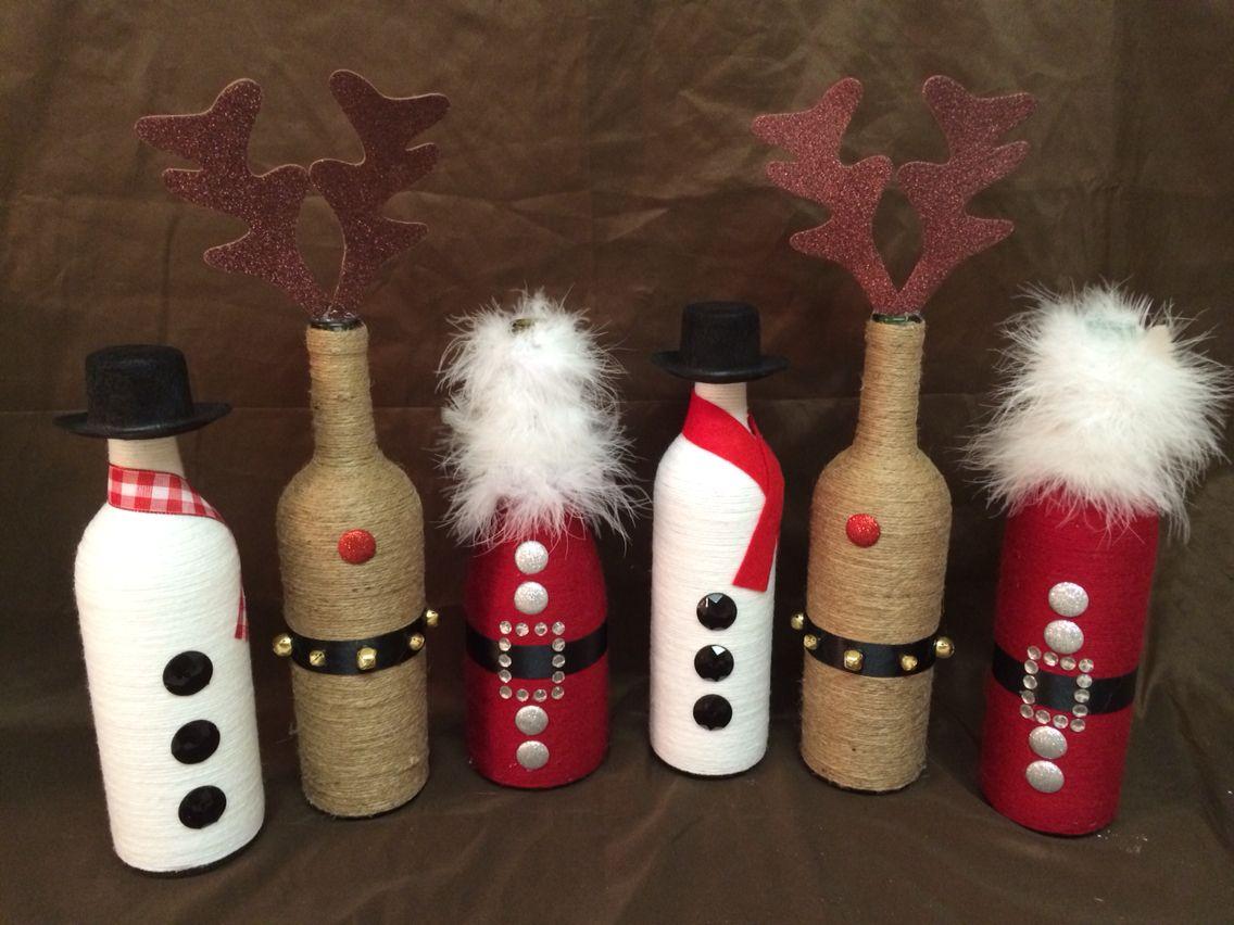 Christmas Wine Bottle Decor #holidays #santa #reindeer