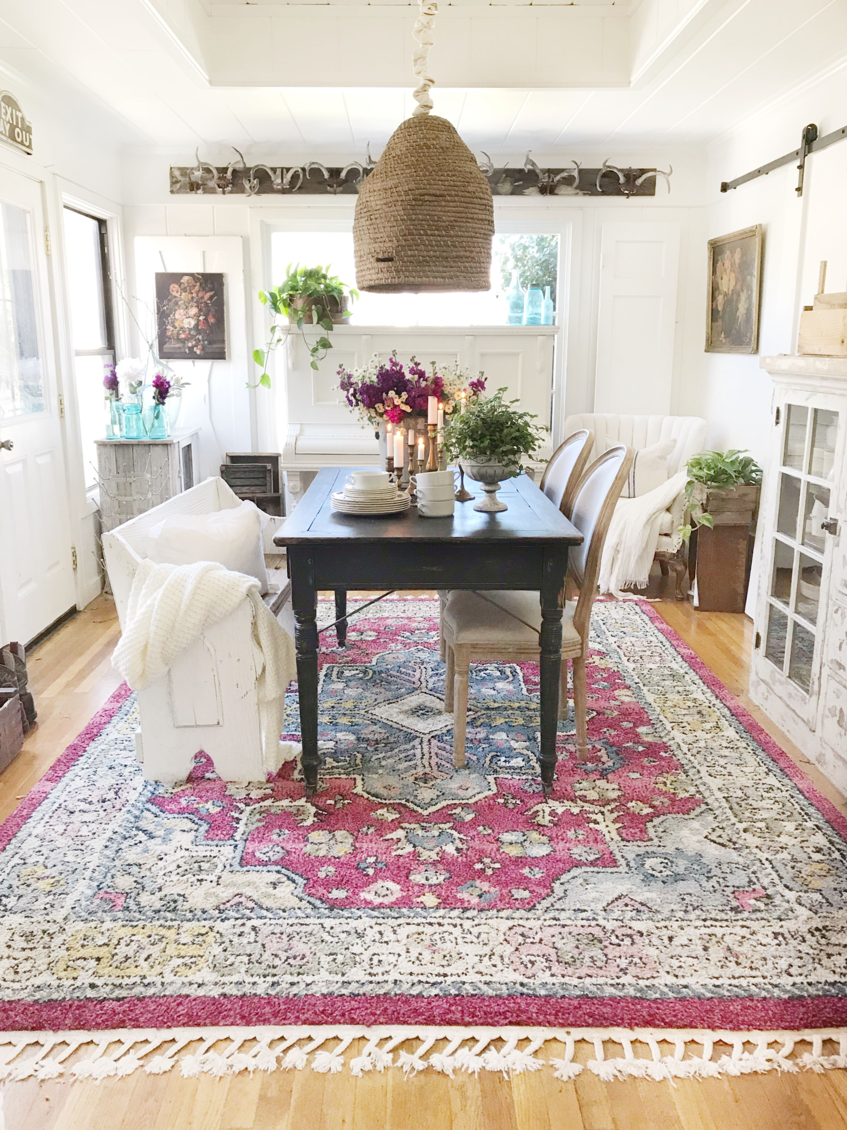 Red Rugs Fringed Boho In Toni Marianna S Dining Room