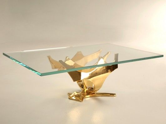 Created by the Old Plank Workshop, this spectacular coffee table base is 24kt gold over solid bronze and can be reproduced in any size to fit your requirements. The design is free-form so every base is unique - the thick glass top allows the exquisite sculptural form to be fully visible from all angles. Please email or call to discuss your requirements.