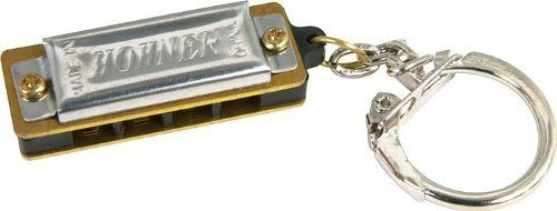 """Hohner108 Mini Harmonica, Minor-Key Chain by Hohner. $2.99. The Hohner Mini Harp with Key Ring is a functioning 4-hole harmonica with 8 genuine brass reeds. The harmonica itself is just 1-3/8"""" long, yet plays a full octave. Attached key ring keep you Hohner Mini Harp within easy reach.. Save 34% Off!"""