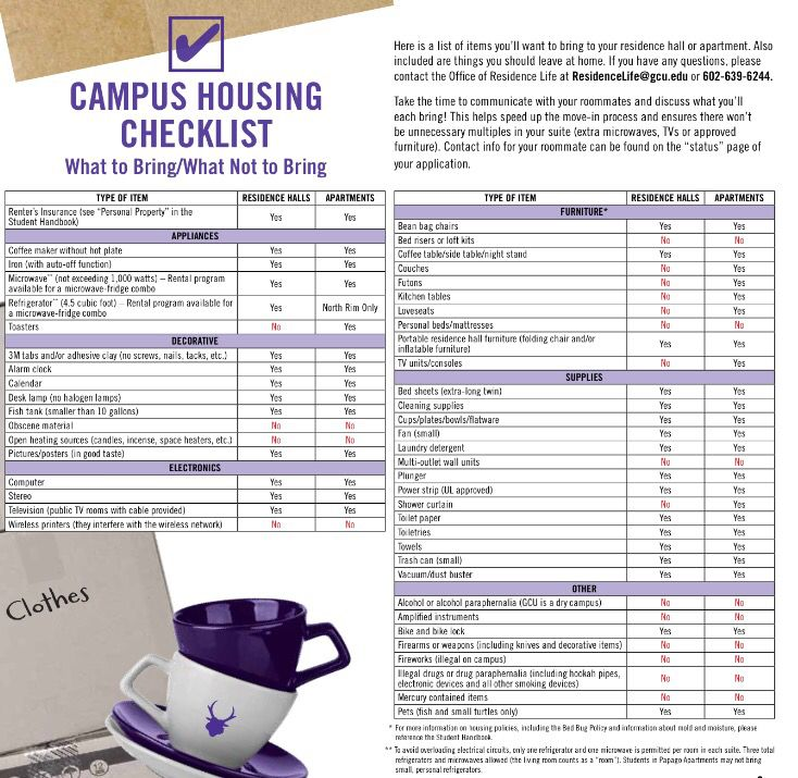 Gcu Packing List  Grand Canyon University    Dorm And