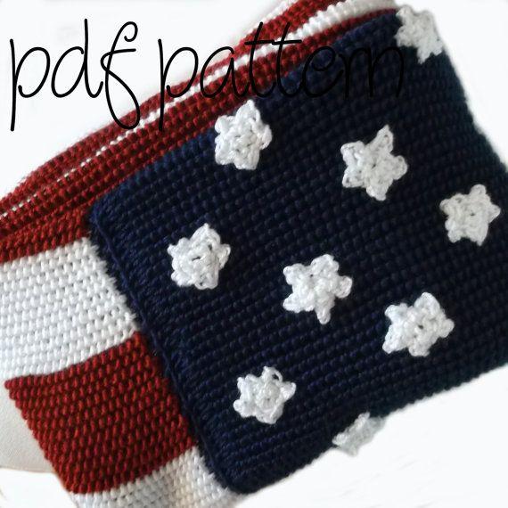 Pdf Crochet Pattern Intermediate American Flag Afghan Blanket
