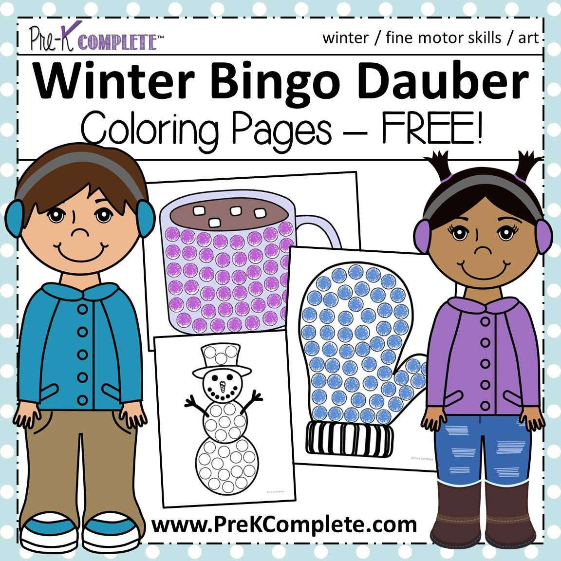 Winter Bingo Dauber Coloring Pages