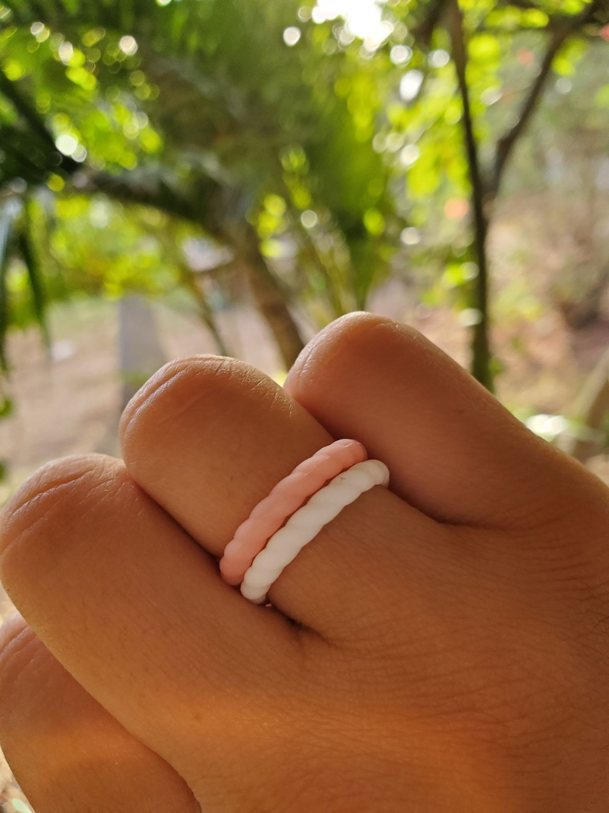 Size 6 7 5 Slightly Stretchy Never Worn Other Than To Display Braided Silicone Wedding Bands White Pi Silicone Wedding Band Wedding Bands Engagement Bands