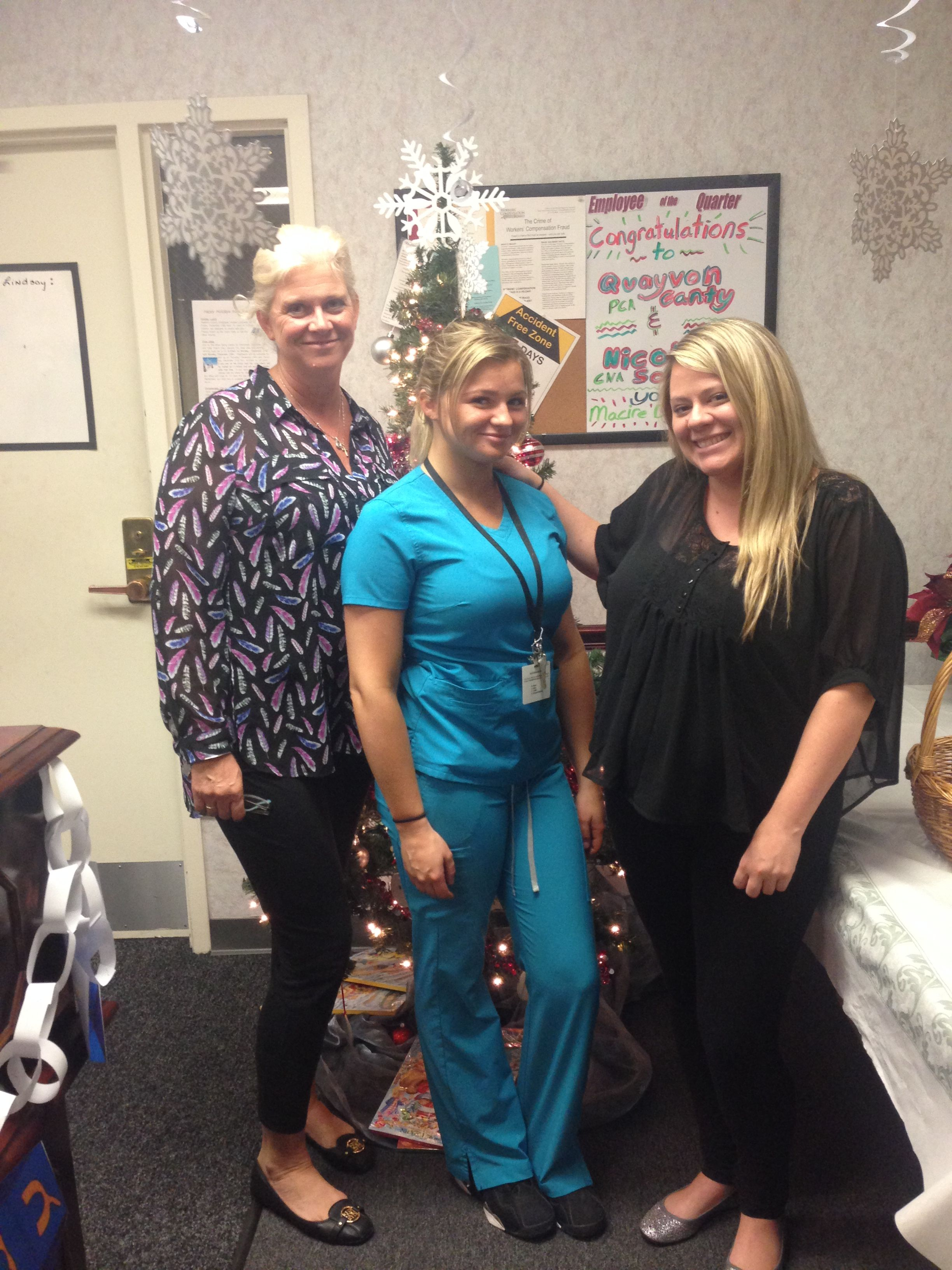 our great nd place albany holiday cash winner evelyn schnoop thank you for being an amazing employee evelyn she is pictured attentive care office manager kristin and field staff supervisor aly