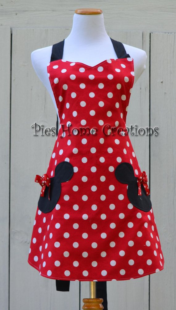 Minnie Mouse Apron Womens Full Cooking Apron von pieshomecreations ...