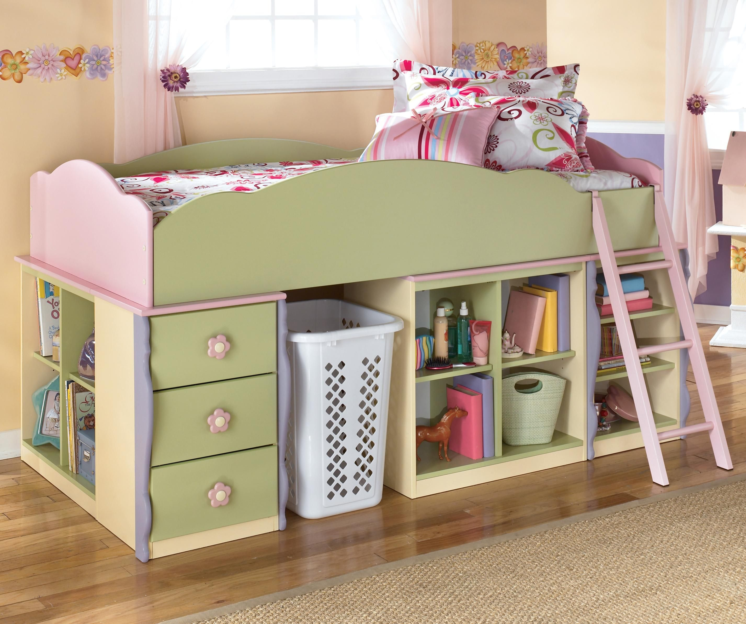 Doll House Loft Bed With Bin Storage U0026 Space For Basket By Signature Design  By Ashley   Furniture U0026 Bedding   Loft Bed Madison, Middleton, Janesville,  ...