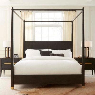 BrownstoneFurniture Palmer Canopy Bed Size: Queen, Finish: Mink ...