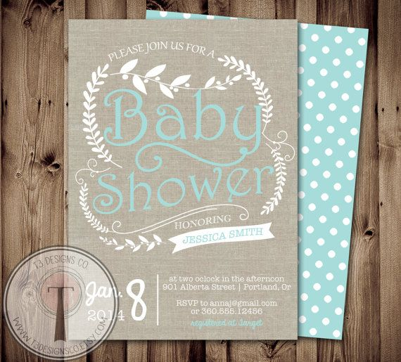 rustic baby shower invitation baby shower linen baby shower