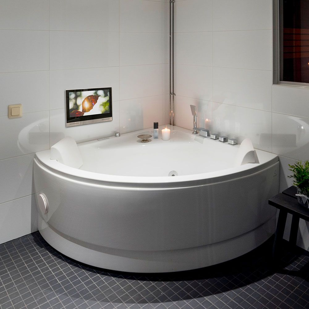 Play Your Favorite Music With Ocea Bathroom Tv And Enjoy A Warm Cozy Bath Time After Long Hours Of Work Because That S What You Deser Tv In Bathroom Bathroom Shower Tvs