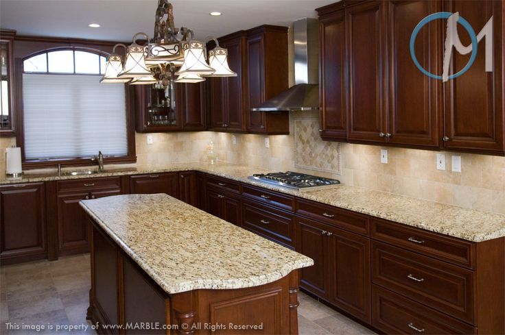 Dark Cabinets With New Venetian Gold Granite And Tumbled Marble Backsplash Cherry Cabinets Kitchen L Shaped Kitchen Designs Colonial Gold Granite