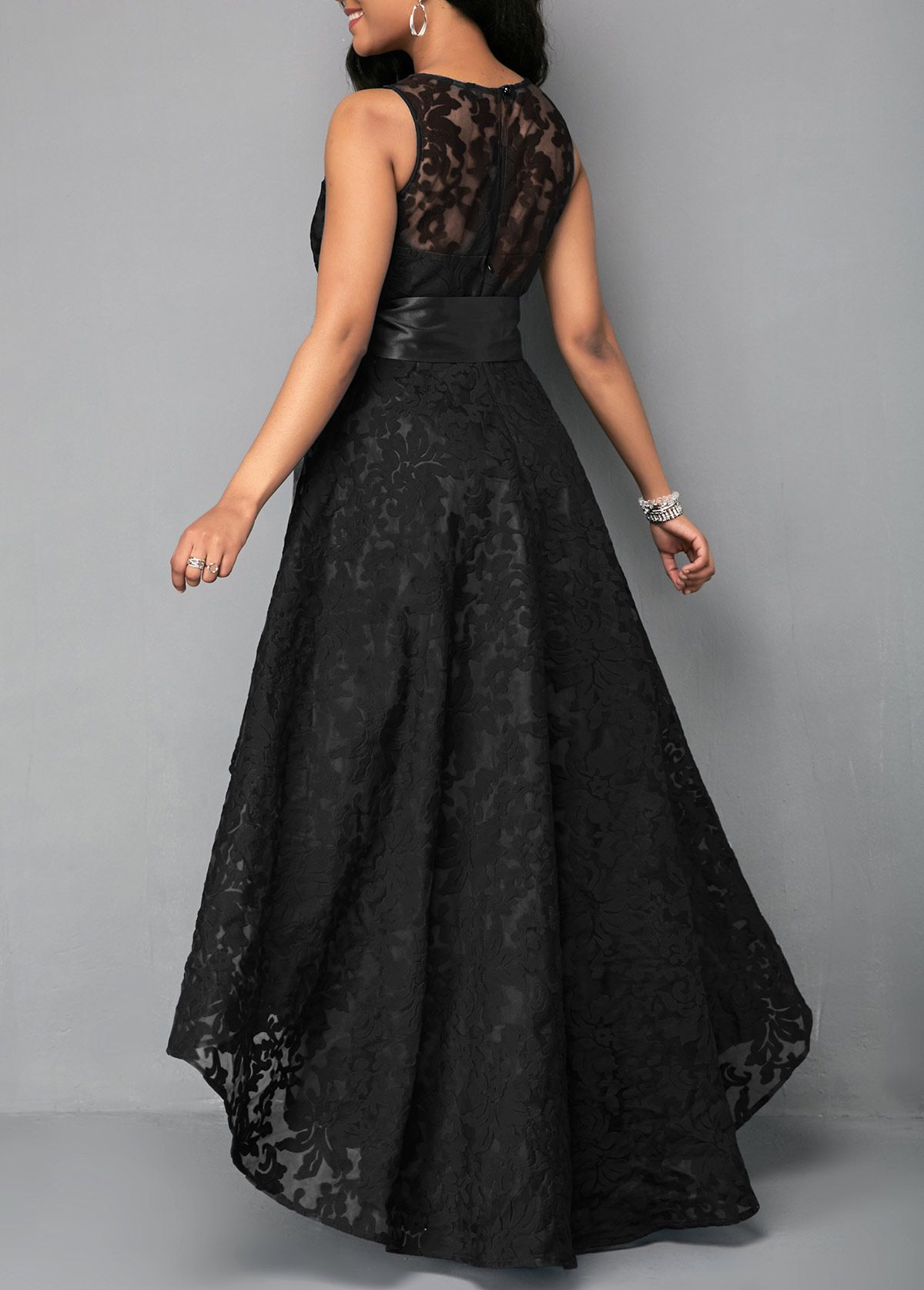 Sleeveless high low black belted lace dress party dresses