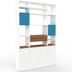 Photo of Bücherregal Weiß – Modernes Regal für Bücher: Schubladen in Nussbaum & Türen in Weiß – 154 x 233 x 3