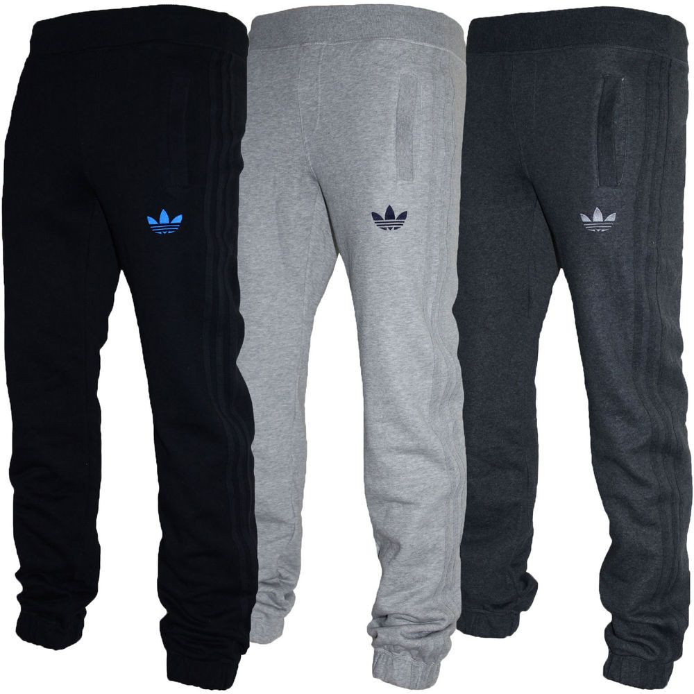 d18294a77b38 Mens Adidas Originals SPO Fleece Trefoil Tracksuit Pants Bottoms Grey Black  S-XL in Activewear
