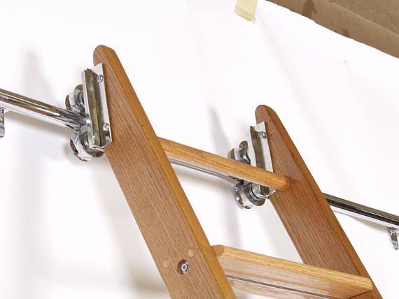 Steel Library Ladder Rolling Or Hook Style Hardware And 10ft Track Boekenkasten Trappen Trap