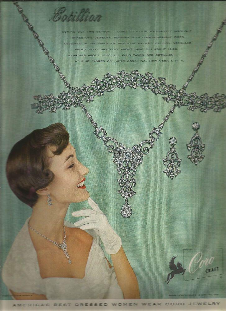 "Coro Craft ""Cotillion"". Circa: 1949. Fashion Magazine Advertisement ( approx 9 x 12). | eBay!"
