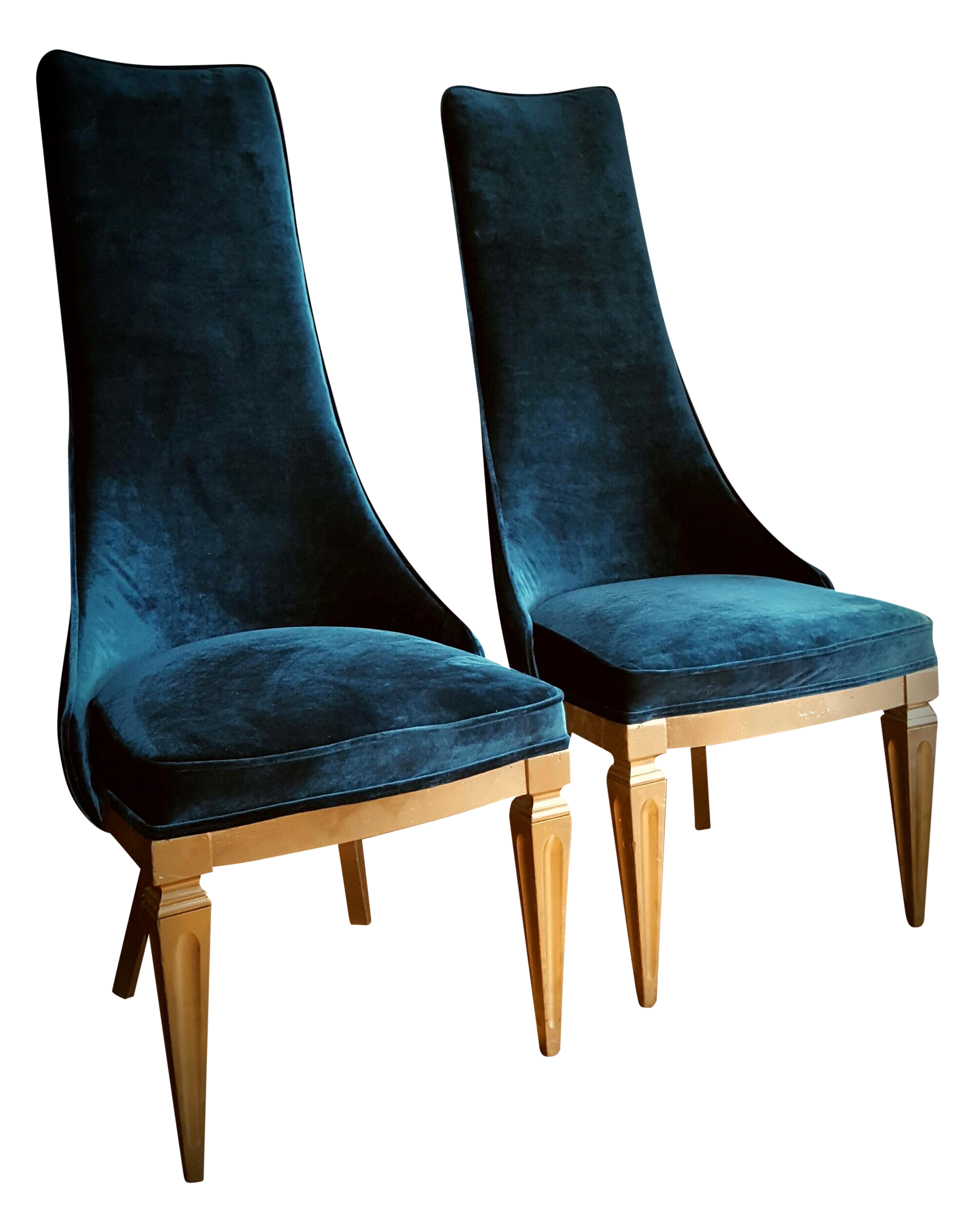 Mid-Century Teal Velvet High-Back Chairs- A Pair on ...