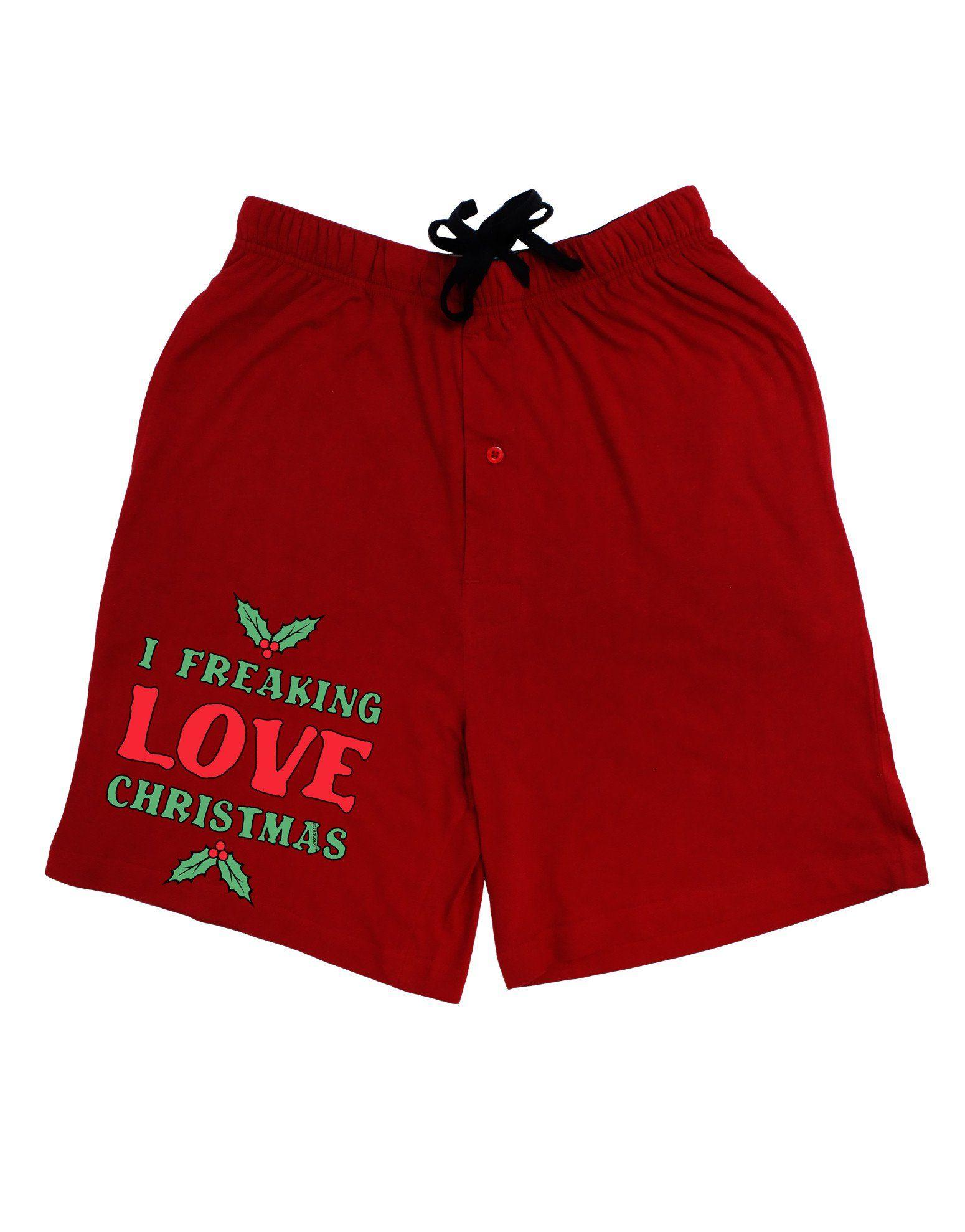 I Freaking Love Christmas Funny Adult Lounge Shorts - Red- Medium