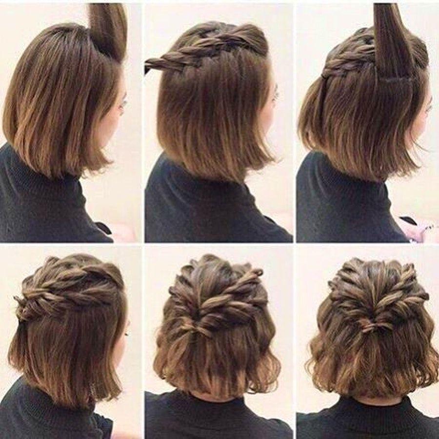 easy half up half down braids for short hair