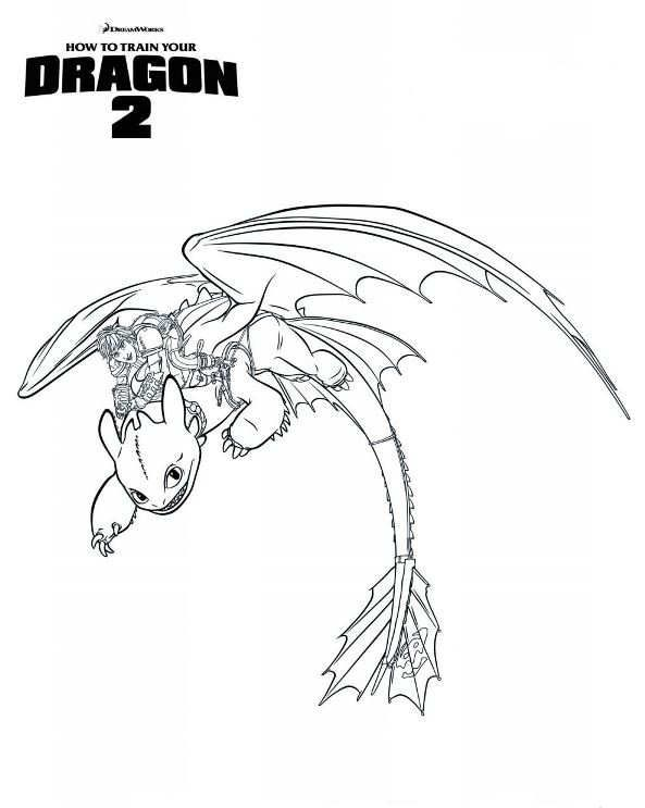 Coloring Page How To Train Your Dragon 2 Hiccup Toothless Dragon