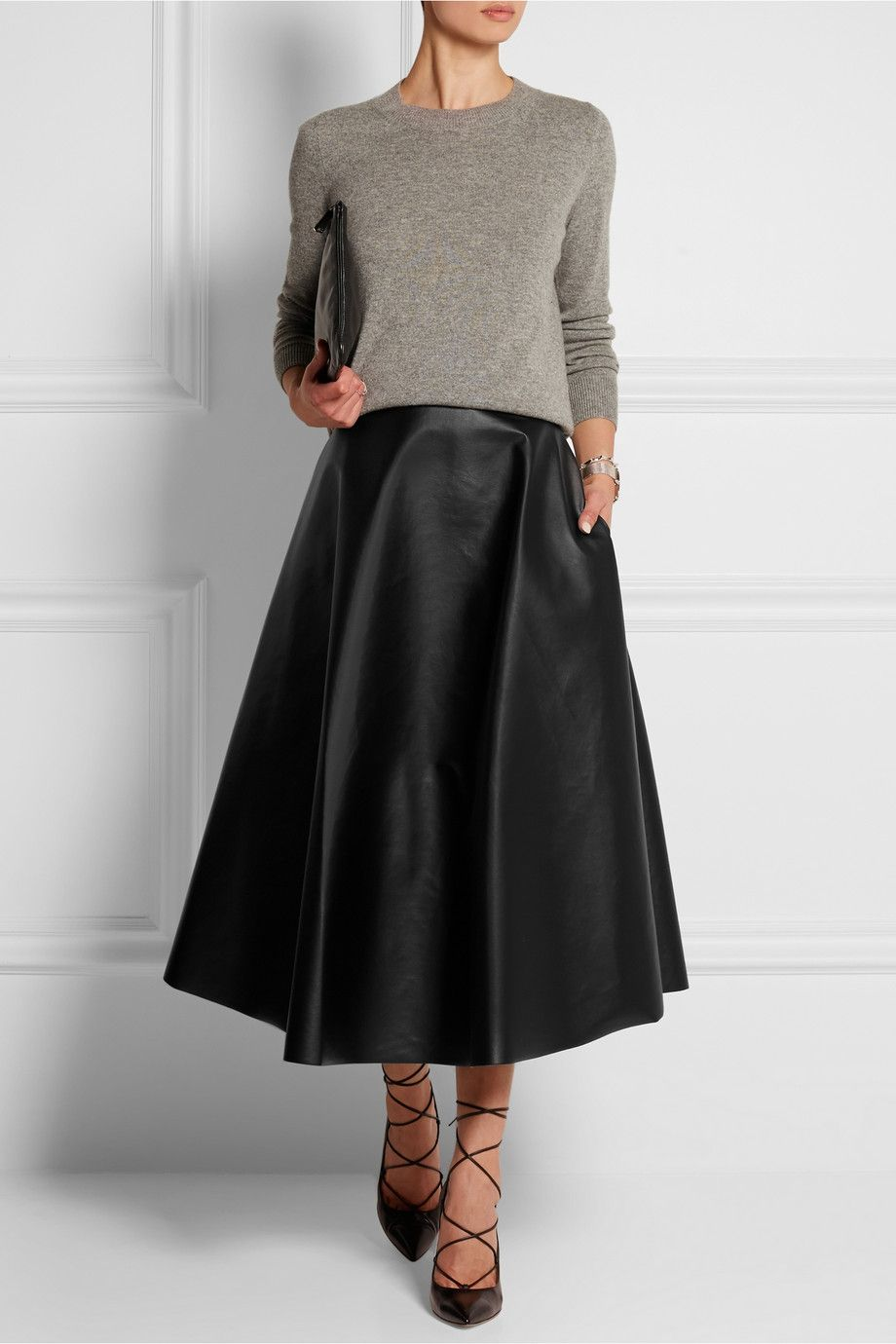 Lanvin | Fluted faux leather midi skirt | NET-A-PORTER.COM ...