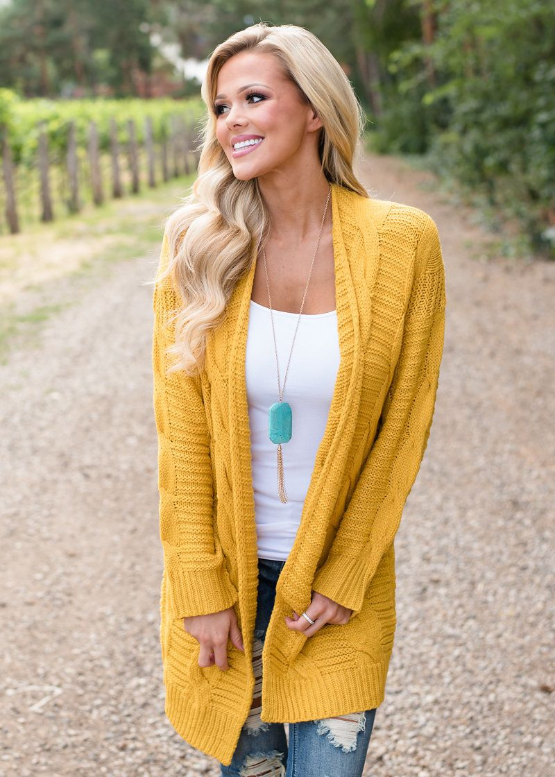 Cable Knit Detailed Sweater Mustard, Modern Vintage Boutique ...