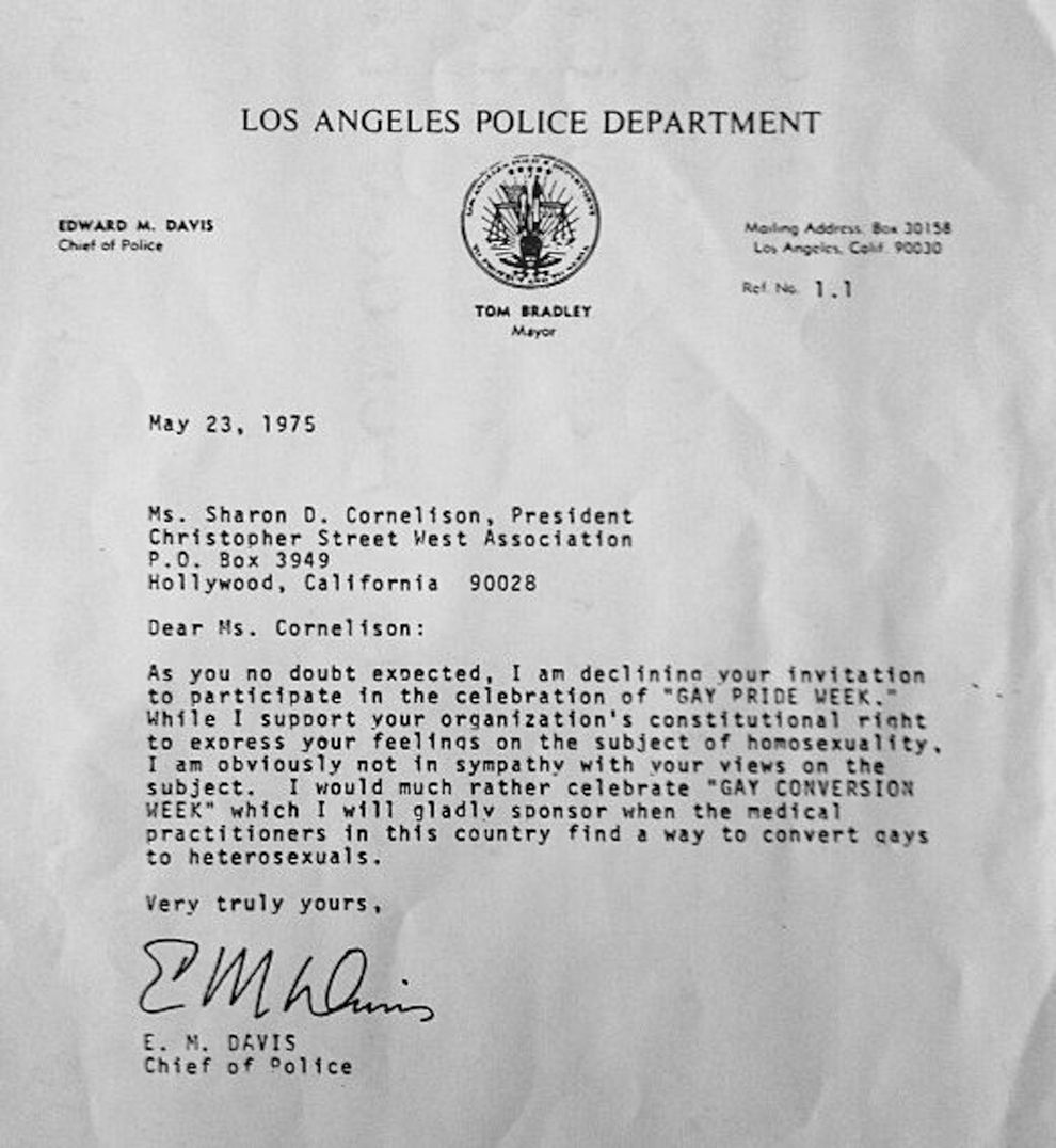 L A Police Chief S Insane Gay Pride Week Rejection Letter From