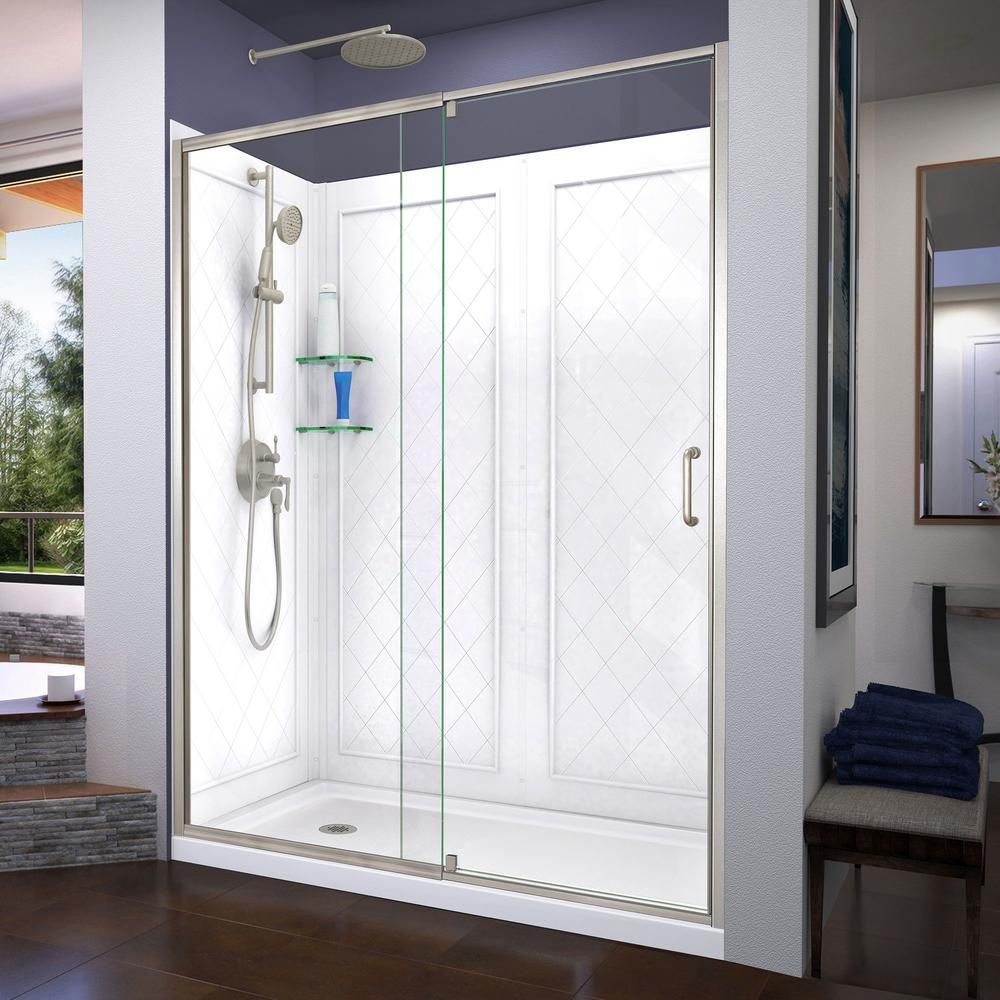 Dreamline Flex 60 In X 72 In Semi Frameless Pivot Shower Door In
