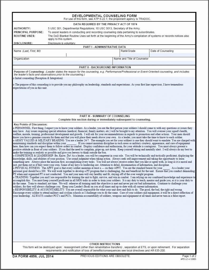 Fillable Da Form 2823 Army Sworn Statement Example 4 Counseling Forms Counseling Job Application Form