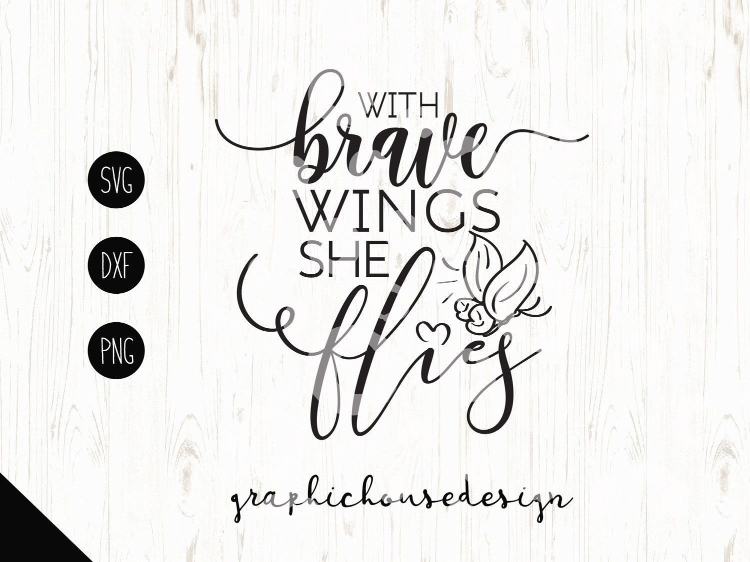 T Shirt Design Line Art : Motivation svg with brave wings she flies girls butterfly