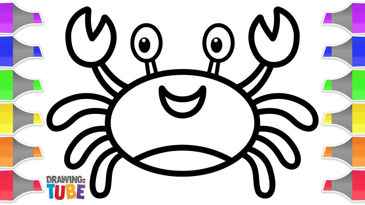 Coloring Easy Crab For Kids Toddlers Drawings For Kids Drawingz Tube Toddler Drawing Drawing Videos For Kids Cartoon Kids