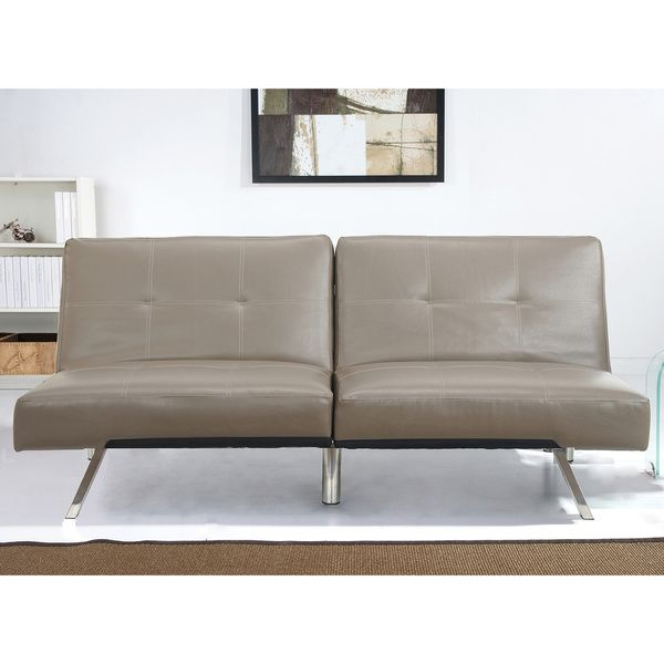 abbyson living aspen taupe leather futon sleeper sofa bed   overstock    shopping   great deals abbyson living aspen taupe leather futon sleeper sofa bed      rh   pinterest