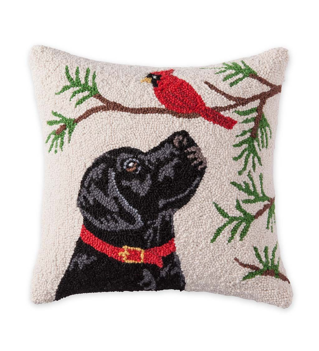 Hooked Wool Holiday Throw Pillow With Black Lab And Cardinal Pillows Holiday Throw Pillow Throw Pillows Hooked Wool